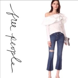 Free People Color Block Crop Jeans Size 26